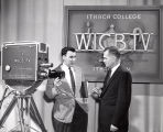 RCA Vidicon television camera in Ithaca College Television Studio with Roy Colle & Warren...