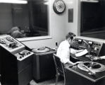 Radio studio, showing broadcast on radio WICB, Ithaca College, Ithaca, NY, taken May 5, 1958.