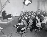 Lecture with recording equipment in Ithaca College Radio-TV studio, Ithaca College, Ithaca, NY,...