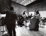 Orchestra rehearsal, Ford Hall, Ithaca College, Ithaca, NY, group picture taken November 3, 1964.
