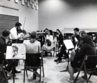 Orchestra strings rehearsal, George Andrix conducting, Ford Hall, Ithaca College, Ithaca, NY,...