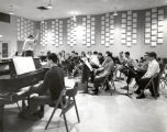 Choir rehearsal, group picture, Ford Hall rehearsal room, Ithaca College, Ithaca, NY, taken April...
