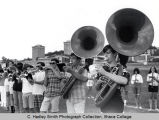 Marching band practice on campus field, Ithaca College, Ithaca, NY, partial group picture, taken...