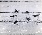 Women's synchronized swim team, Ithaca College, Ithaca, NY, group picture in indoor pool, taken...