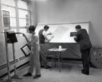 Graphics & scenic design, Ithaca College, Ithaca, NY, downtown classroom, taken March 20, 1958.