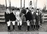 Riding club, Ithaca College, Ithaca, NY, group photograph with one member riding, taken December...