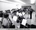 Wind instruments rehearsal, group picture, Ford Hall, Ithaca College, Ithaca, NY, taken August 26,...