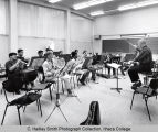 Brass instrument rehearsal, group picture, Ford Hall practice room, Ithaca College, Ithaca, NY,...