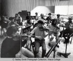 Strings rehearsal, group picture, Ford Hall, Ithaca College, Ithaca, NY, taken August 26, 1966.