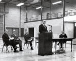 Hill Center Dedication Ceremony, in gymnasium later dedicated to Ben Light, Ithaca College,...
