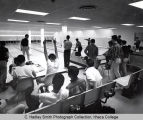 Bowling instruction in Hill Center, Ithaca College, Ithaca, NY, group picture taken January 8,...