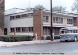 Radio-TV Studio, with campus bus, Ithaca College, Ithaca, NY,  exterior view from the Southwest,...