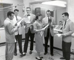 Radio studio broadcast, Ithaca College, Ithaca, NY, group picture, taken May 5, 1958.