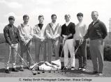 Men's golf varsity team members, Ithaca College, Ithaca, NY, group picture, taken May 1, 1969.