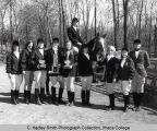 Riding club, women riders, Ithaca College, Ithaca, NY,  exterior group picture, taken May 8, 1968.