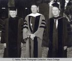 Commencement participants Herman Muller, Robert Greenway, Howard Dillingham, Ithaca College,...