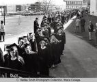 Commencement procession 1971, Ithaca College, Ithaca, NY, exterior view from the North side of...