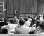 Lecture on Shakespeare, picture of instructor  from the lecture hall, Ithaca College, Ithaca, NY,...