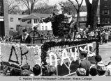 "Spring Weekend parade float ""Davy Crockett"",  near reviewing stand, Ithaca College,..."