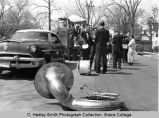 Spring Weekend parade float & band, Ithaca College, Ithaca, NY, exterior view, taken May 6,...