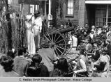 "Spring Weekend parade float ""Boones Borough"", close view in front of Boardman House,..."
