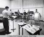 Percussion instrument rehearsal, group picture, Ford Hall practice room, Ithaca College, Ithaca,...