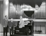 Ford Hall (Concert Hall) organ viewed by Walter Ford, group picture in Ford Hall, Ithaca College,...