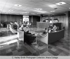 College Union (or Egbert Hall), lobby interior view showing Information Desk, Ithaca College,...