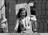 Spring Weekend parade float, woman with lei, Ithaca College, Ithaca, NY,  close view, taken May 1,...