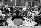 Rod Serling speaking to College students at Communication Symposium, Ithaca College, Ithaca, NY,...