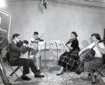 String quartet performance showing microphone & television camera, Ithaca College, Ithaca, NY,...
