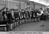 Fall Weekend Greek Sing 1968, sorority group picture in Recreation Room of Campus Center, Ithaca...