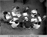 Class in progress, Ithaca College, Ithaca, NY,  overhead group view, taken July 31, 1958.