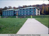 Holmes Hall with students crossing campus, Ithaca College, Ithaca, NY, exterior view from the...