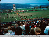 Band playing on football field ,Ithaca College, Ithaca, NY, exterior group picture from the South,...