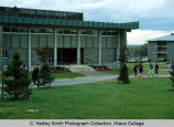 Hammond Health Center, Ithaca College, Ithaca, NY,  exterior near view with Landon Hall to right,...