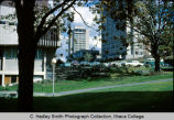 Towers residences & Dining Hall with corner of Ford Hall at left, Ithaca College, Ithaca, NY,...