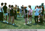 Golf instruction, Ithaca College, Ithaca, NY, group view around instructor, taken June 1970.