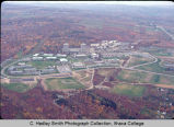 Campus aerial view (South Hill campus) in color, Ithaca College, Ithaca, NY, from the North, taken...