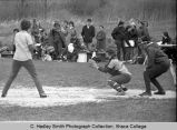 Softball game, Ithaca College women vs. Albany, action picture of Albany player at bat on Ithaca...