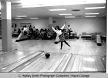Woman bowling, Ithaca College, Ithaca, NY, action picture in Hill Center taken February 11, 1969.