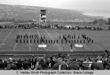 Band playing on football field, Ithaca College, Ithaca, NY, exterior picture from the South taken...