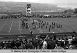 "Band formation on football field, figure for ""Salute to Science"" Ithaca College, Ithaca,..."