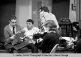 Actors and musicians before performance, Ithaca College, Ithaca, NY,  group picture taken May 1964.