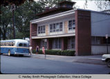 Radio-TV Studio, with campus bus, Ithaca College, Ithaca, NY,  exterior view from the Southeast,...
