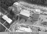 Towers residence halls & dining hall, Ithaca College, Ithaca, NY, aerial close view, from the...
