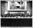 Orchestra, group photograph in Ford Hall, Ithaca College, Ithaca, NY, taken February 26, 1971.