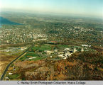Campus aerial, Ithaca College, Ithaca, NY,  view from the Southwest, taken October 28, 1983.