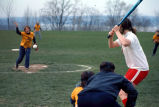 Softball game, Ithaca College, Ithaca, NY, action picture of Ithaca College woman pitching, on...