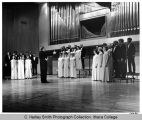 Choir dress rehearsal on Ford stage, Ithaca College, Ithaca, NY, from near right, taken April 16,...